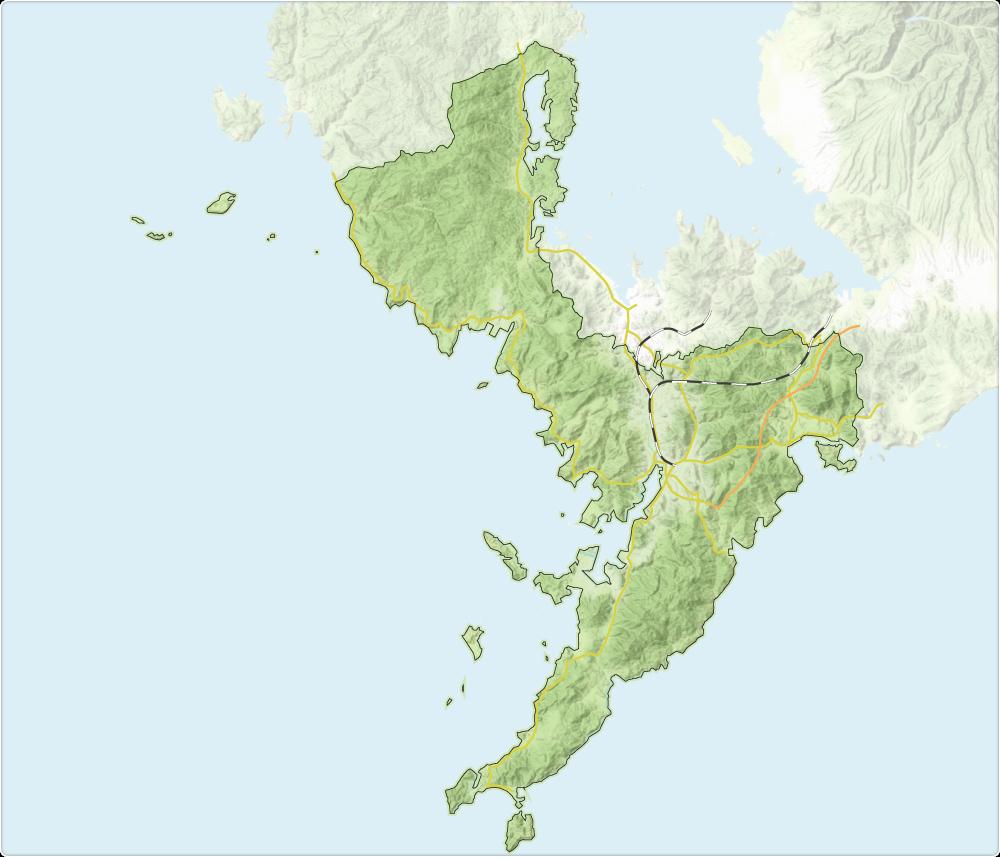 長崎市大気汚染常時監視測定局位置図